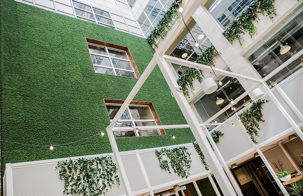 Freund Evergreen Moss Premium, certified fire-resistant, WeWork offices, London
