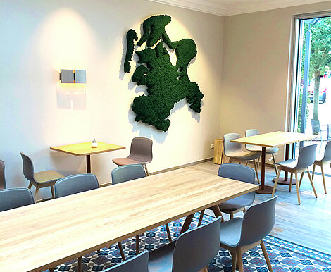 Free-form map of Rügen as moss picture with moss edging, Evergreen Premium moss, Freund GmbH, wall picture, biophilic design