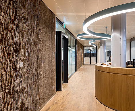 Freund GmbH Bark House® poplar bark, warm wood walls in the LUXTRAM offices, calming ambience