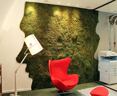 Corporate design image realised as Greenwood forest moss custom shape, Connect Sense, Witten