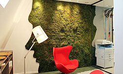 Corporate Design Bildmarke Umsetzung Greenwood Waldmoos in Sonderform, Connect Sense, Witten