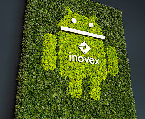 Moss marketing message for staff, moss picture with raised inovex logo