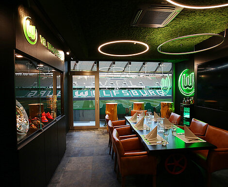 Freund leather floor and leather hugs, seat upholstery, events room, stadium, Fußballarena VfL Wolfsburg VIP lounge