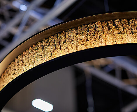 Freund GmbH circular lights with Bark House® poplar bark, curved, ceiling lamp