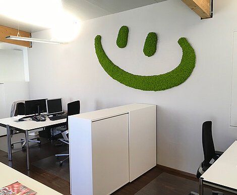 Moss smiley wall picture decoration, Freund Evergreen Moss Premium, well-being at work