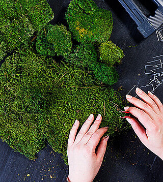 Freund GmbH, production, manufacturing moss products and application - A piece of nature for your rooms