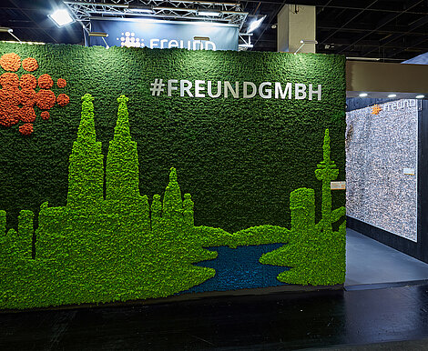 Cologne branding for imm cologne, Freund exhibition stand, Evergreen Premium moss in three colours, skyline, Köln
