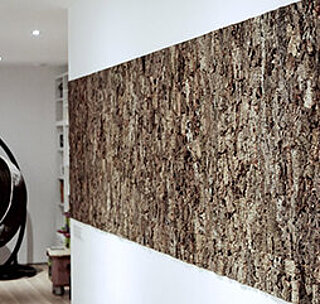 Natural cork bark panels for acoustically effective wall panels, wooden walls, Freund GmbH