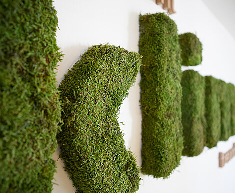 """Klima"" moss lettering made of Freund GmbH Greenwood moss"