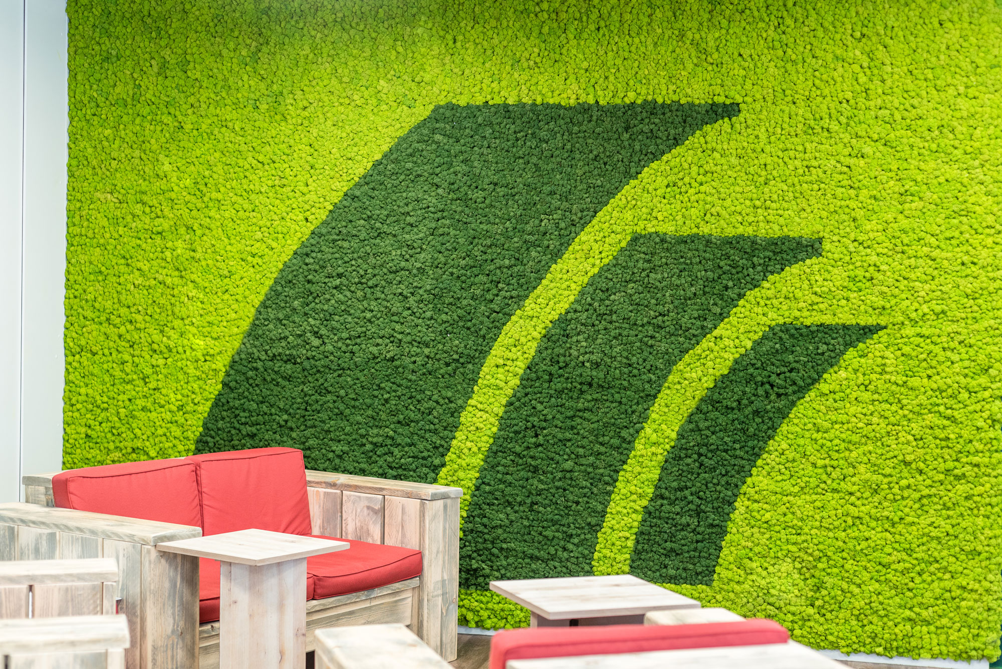 Postbank logo in moss wall of reindeer moss by Freund GmbH