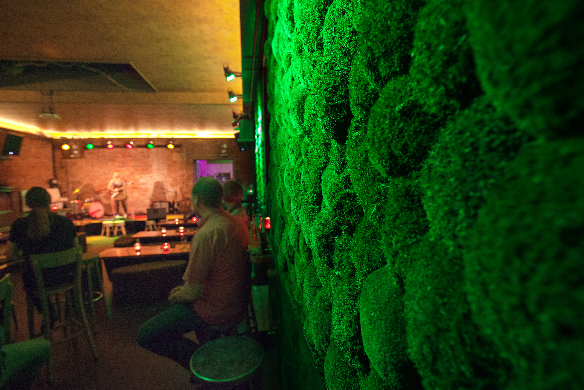 Functionally acoustic Greenhill moss walls, POOL Leipzig, bar and event venue, vertical greening