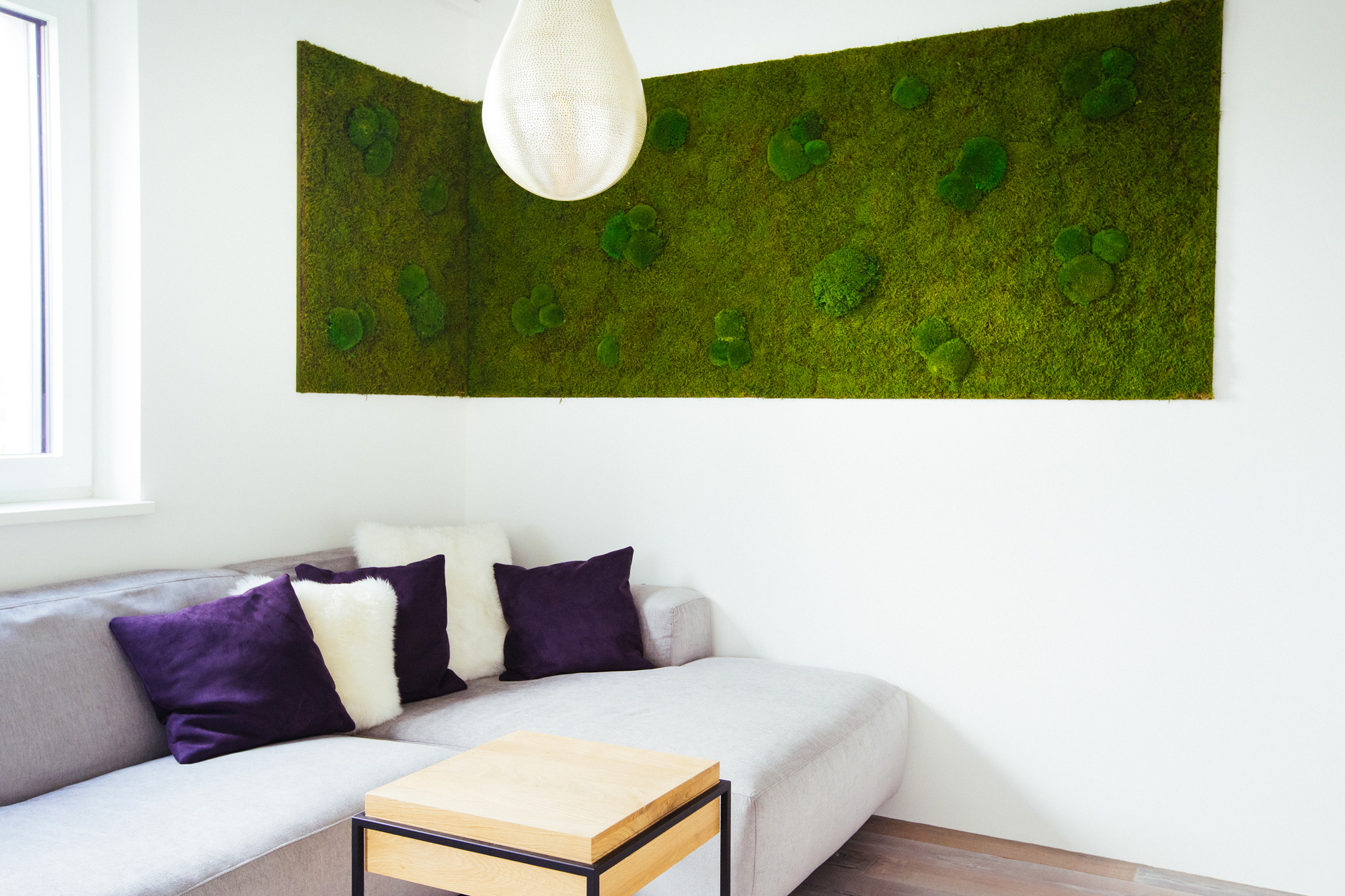 Freund Greenwood Extra, preserved moss wall, in private living room