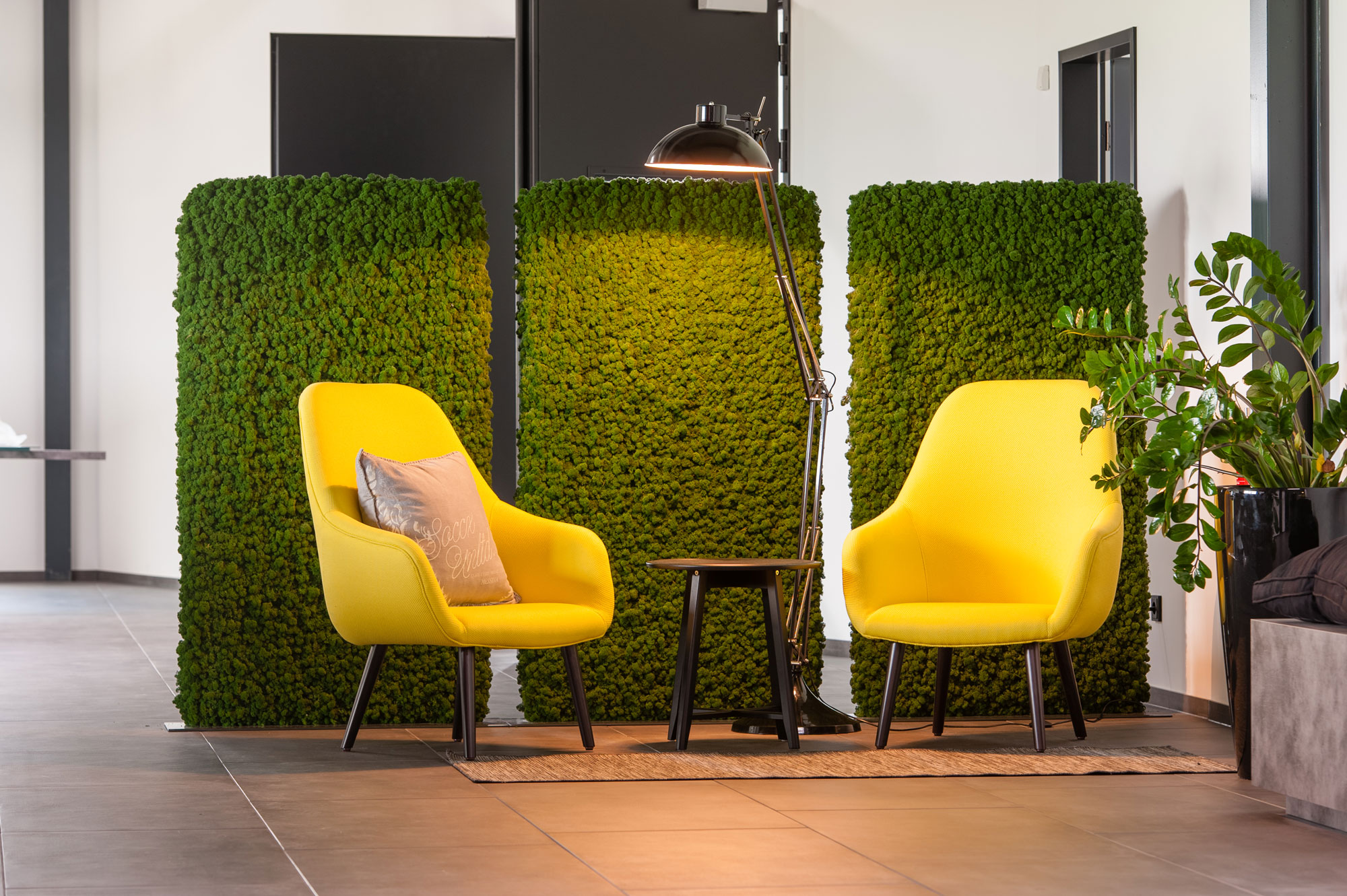 Freund moss manufactory functionally acoustic room dividers with moss walls in a calming office environment