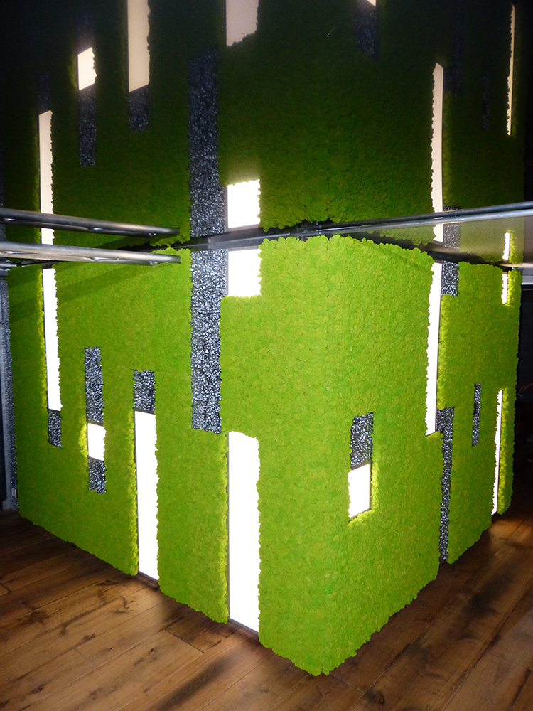 Freund moss manufactory art installation, moss object, moss box