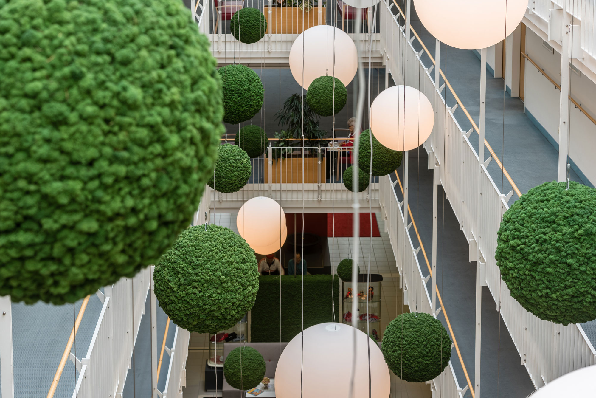 Functionally acoustic moss spheres, Evergreen moss, moss green, Bad Gögging rehabilitation centre